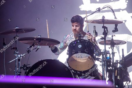 Andy Hurley of Fall Out Boy performs at the Bunbury Music Festival, in Cincinnati