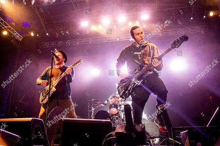 Stock Image of Patrick Stump, Pete Wentz. Patrick Stump, left, and Pete Wentz of Fall Out Boy perform at the Bunbury Music Festival, in Cincinnati