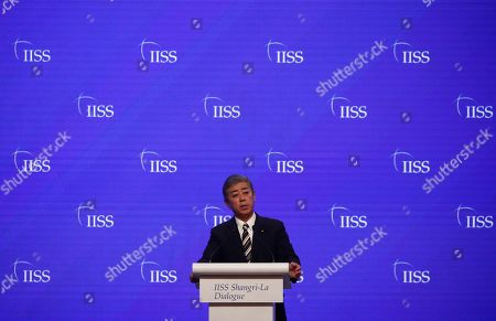 Japanese Minister for Defence Takeshi Iwaya delivers his address during the second plenary session of the International Institute for Strategic Studies (IISS) 18th Asia Security Summit in Singapore, 01 June 2019. The IISS Asia Security Summit is an annual gathering of defense officials in the Asia-Pacific region and is dubbed the Shangri-La Dialogue in honor of the hotel where the event is held. The summit will be held from 31 May to 02 June 2019.