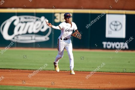 Stock Photo of California second baseman Darren Baker #2 makes a throw to first after fielding a ball. TCU defeated California 13-2 in Fayetteville, AR, Richey Miller/CSM