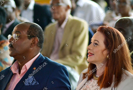 The Prime Minister of Antigua and Barbuda, Gaston Browne (L), and the Ecuadorian Maria Fernanda Espinosa (R), president of the UN General Assembly, attend the inaugurate a park dedicated to science and innovation by the United Nations Office for Project Services (UNOPS), in Saint John, Antigua and Barbuda, 31 May 2019.