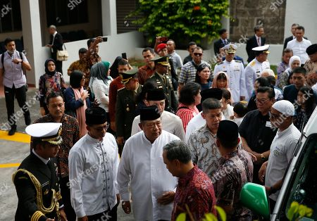 Former Indonesian President Susilo Bambang Yudhoyono (C) is seen amongst mourners at the Indonesian embassy building in Singapore, 01 June 2019. The wife of former Indonesian President Susilo Bambang Yudhoyono passed away on 01 June 2019 aged 66 at the National University Hospital after losing her battle with blood cancer.