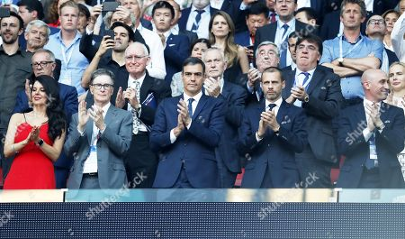 Liverpool owner John Henry (2L), his wife Linda Pizzuti Henry (L), UEFA President Aleksander Ceferin (2R) and Luis Manuel Rubiales Bejar (R), head of the Royal Spanish Football Federation before the UEFA Champions League final between Tottenham Hotspur and Liverpool FC at the Wanda Metropolitano stadium in Madrid, Spain, 01 June 2019.