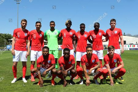 Stock Picture of England Team Photo. Back row (left to right) Sam Field, Dwight McNeil, Ellery Balcombe, Trevoh Chalobah, Marc Guehi, Josh DaSilva and George Hirst. Front row (left to right) Kyle Edwards, Steve Sessegnon, Marcus Tavernier and Tom Pearce during England Under-20 vs Japan Under-22, Tournoi Maurice Revello Football at Stade de Lattre-de-Tassigny on 1st June 2019