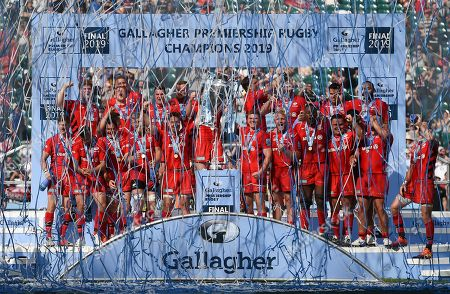 Stock Image of Brad Barritt of Saracens and Owen Farrell of Saracens celebrate winning the 2019 Gallagher Premiership Final