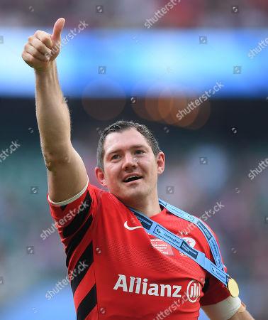 Alex Goode of Saracens celebrates at full-time