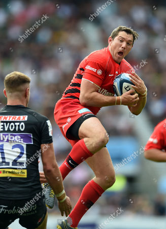 Alex Goode of Saracens claims the ball in the air