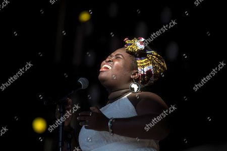 Stock Photo of Dayme Arocena performs on stage during her concert in the framework of the second day of the Primavera Sound music festival in Barcelona, Catalonia, north eastern Spain, 01 June 2019, an event running from 30 May until 01 June.