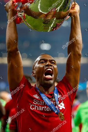 CHAMPIONS Liverpool forward Daniel Sturridge (15) lifts the trophy after the UEFA Champions League Final match between Tottenham Hotspur and Liverpool at Wanda Metropolitano Stadium, Madrid
