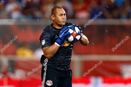 New York Red Bulls goalkeeper Luis Robles makes a save against Real Salt Lake during the second half of an MLS soccer match, in Harrison, N.J. The Red Bulls won 4-0