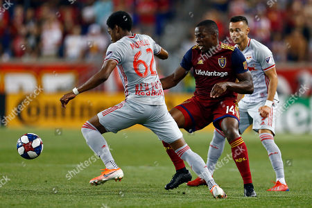 New York Red Bulls defender Michael Murillo (62) competes for the ball with Real Salt Lake defender Nedum Onuoha (14) during the second half of an MLS soccer match, in Harrison, N.J. The Red Bulls won 4-0