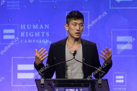 Actor Jake Choi guests after receiving the Visibility Award during the Human Rights Campaign Columbus, Ohio Dinner at Ohio State University