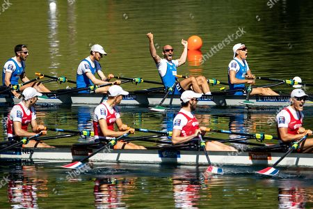 (L-R) Catello il Amarante, Lorenzo Fontana, Alfonso Scalzone and Gabriel Soares celebrate during the Lightweight Men's Quadruple Sculls Final A at the 2019 European Rowing Championships on Lake Rotsee in Lucerne, Switzerland, 02 June 2019.