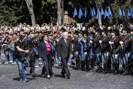 Italian President Sergio Mattarella (C) and Defence Minister Elisabetta Trenta (C, left) attend the Republic Day 'Festa della Repubblica' celebrations in Rome, Italy, 02 June 2019. The anniversary marks the founding of the Italian Republic in 1946.