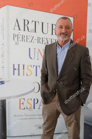 Spanish writer Arturo Perez-Reverte poses during the Book Fair in Madrid, Spain, 02 June 2019. The 78th edition of the Book Fair in Madrid is held from 31 May to 16 June 2019.