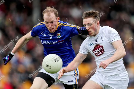 Longford vs Kildare. Longford's Barry O'Farrell and Neil Flynn of Kildare