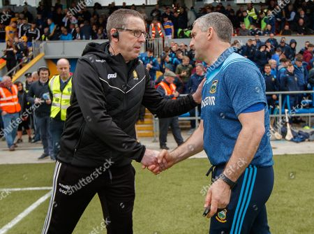 Clare vs Tipperary. Clare's joint manager Gerry O'Connor and Tipperary manager Liam Sheedy