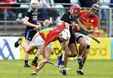 Carlow vs Dublin. Carlow's Martin Kavanagh and Seamus Murphy in action against Dublin's Danny Sutcliffe