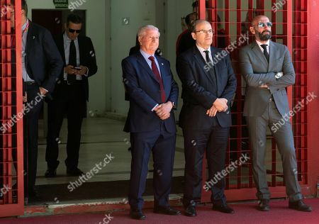 Sevilla's president Jose Castro (C), Sevilla's sports director Ramon Rodriguez 'Monchi' (R) and Sevilla's CEO Jose Maria Cruz (L) attend the funeral chapel of Spanish soccer player Jose Antonio Reyes, 35, died after the vehicle crashed off-road and burnt, at Ramon Sanchez Pizjuan stadium in Seville, Andalusia, Spain, 02 June 2019. Funeral chapel of late soccer player Jose Antonio Reyes has been installed at Sanchez Pijuan stadium. Jose Antonio Reyes, who currently played for Extremadura UD, played for Sevilla FC, Real Madrid and Atletico de Madrid amongst other clubs.