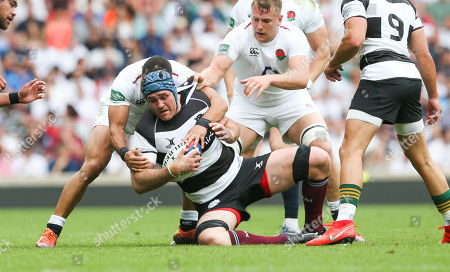 James Horwill (Captain) of Barbarians is held