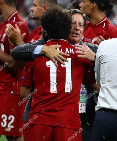 Liverpool chairman Tom Werner hugs Mohamed Salah of Liverpool