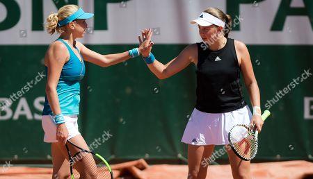 Lyudmyla Kichenok of the Ukraine & Jelena Ostapenko of Latvia playing doubles