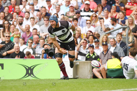 James Horwill of Barbarians scores a try