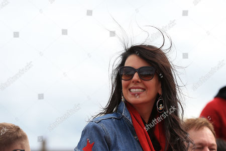 Stock Image of Linda Pizzuti Henry on the parade bus prior to departure