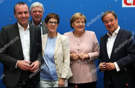 (L-R) The European member of Parliament Manfred Weber, Premier of Hesse Volker Bouffier, CDU party chairwoman Annegret Kramp-Karrenbauer, German Chancellor and Premier of North Rhine-Westphalia Armin Laschet pose for photos at the meeting of the party's federal board in the headquarters in Berlin, Germany, 02 June 2019. The CDU will discuss the actions to be taken after the results in the last European elections.