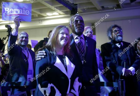 Jane O'Meara Sanders, Cornel West, Danny Glover. Jane O'Meara Sanders, the wife of Democratic presidential candidate Sen. Bernie Sanders, I-Vt., center left, stands with actor Danny Glover, center right, and Dr. Cornel West, right, during the 2019 California Democratic Party State Organizing Convention in San Francisco
