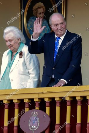 Stock Picture of Naomi Osaka, Dominika Cibulkova. Spain's former King Juan Carlos, right, waves next to his sister Pilar during a bullfight at the bullring in Aranjuez, Spain, . Former King Juan Carlos withdraws from official events and retires from public life from June 2, on the five-year anniversary of his abdication of the throne
