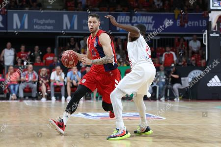 Stock Picture of , and Stefan Jovic #16 (FC Bayern Basketball) and Josh Young #8 (SC Rasta Vechta), FC Bayern Basketball vs. SC Rasta Vechta, Basketball, BBL, Playoffs, semi final  02.06.2019