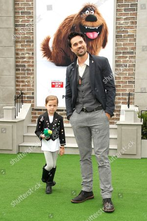 Brett Dalton (R) arrives with his daughter Sylvia (L) for the premiere of The Secret Life of Pets 2 at the Regency Village Theater in Westwood, Los Angeles, California, USA, 02 June 2019. The movie opens in the US on 07 June 2019.