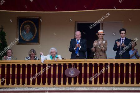 Stock Photo of Fernando Gomez-Acebo, Simoneta Gomez-Acebo, Infanta Pilar de Borbon, Former Juan Carlos, Princess Elena, Grandson Froilan