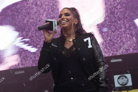 Nessa Diab is seen on stage at HOT 97 Summer Jam 2019 at MetLife Stadium, in East Rutherford, New Jersey