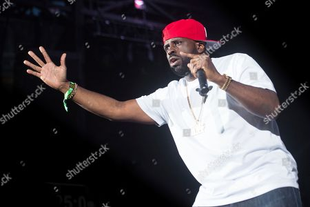 Funkmaster Flex is seen on stage at HOT 97 Summer Jam 2019 at MetLife Stadium, in East Rutherford, New Jersey