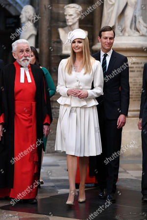 Sir Roy Strong, Ivanka Trump and Jared Kushner in Westminster Abbey