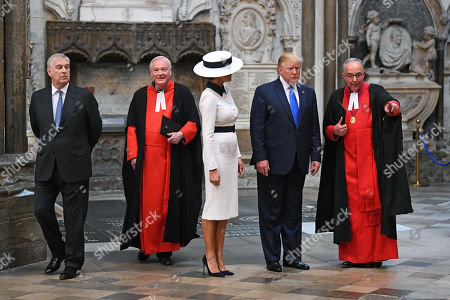 Prince Andrew, David Stanton, Melania Trump, Donald Trump, The Very Reverend John Hall in Westminster Abbey