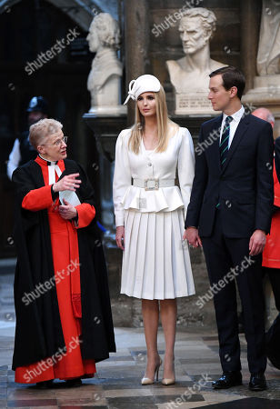 Stock Image of Sir Roy Strong, Ivanka Trump and Jared Kushner in Westminster Abbey