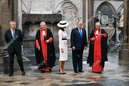 Stock Picture of Prince Andrew, David Stanton, Melania Trump, Donald Trump, The Very Reverend John Hall in Westminster Abbey
