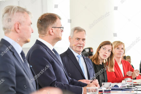 (L-R) Green Party leader Pekka Haavisto, Centre Party leader Juha Sipila, Democratic Party leader Antti Rinne, Left Alliance leader Li Andersson and Swedish People's Party of Finland leader Anna-Maja Henriksson hold a press conference announcing the new Finnish Government Programme at Helsinki Central Library Oodi in Helsinki, Finland, 03 June 2019.