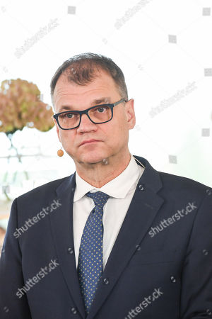Stock Photo of Finnish Prime Minister and Centre Party leader Juha Sipila attends a press conference announcing the new Finnish Government Programme at Helsinki Central Library Oodi in Helsinki, Finland, 03 June 2019.