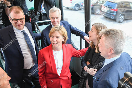(L-R) Centre Party leader Juha Sipila, Swedish People's Party of Finland leader Anna-Maja Henriksson, Democratic Party leader Antti Rinne, Left Alliance leader Li Andersson and  Green Party leader Pekka Haavisto on their way to a press conference announcing the new Finnish Government Programme at Helsinki Central Library Oodi in Helsinki, Finland, 03 June 2019.