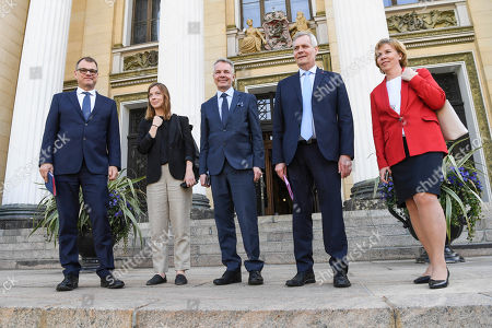 (L-R) Centre Party leader Juha Sipila, Left Alliance leader Li Andersson, Green Party leader Pekka Haavisto, Swedish People's Party of Finland leader Anna-Maja Henriksson and  Democratic Party leader Antti Rinne on their way to a press conference announcing the new Finnish Government Programme at Helsinki Central Library Oodi in Helsinki, Finland, 03 June 2019.