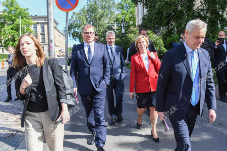 (L-R) Left Alliance leader Li Andersson, Centre Party leader Juha Sipila,Green Party leader Pekka Haavisto, Swedish People's Party of Finland leader Anna-Maja Henriksson and  Democratic Party leader Antti Rinne on their way to a press conference announcing the new Finnish Government Programme at Helsinki Central Library Oodi in Helsinki, Finland, 03 June 2019.