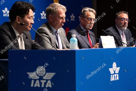 Alexandre de Juniac (2-R), secretary-general of the International Air Transport Association (IATA), speaks during a press conference at the close of the 75th IATA Annual General Meeting in Seoul, South Korea, 03 June 2019. Korean Air Lines Co. hosted the three-day event.