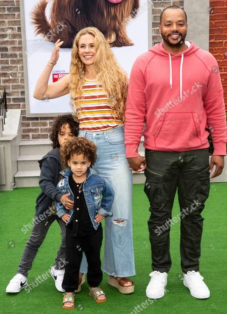 Donald Faison (top, R), wife Cacee Cobb (L), children Rocco and Wilder