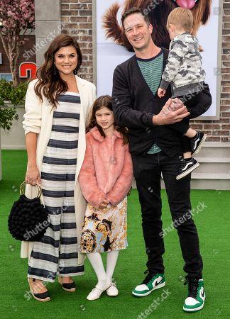 Tiffani Thiessen (L), husband Brady Smith (2-R), children Holt Smith (R) and Harper Smith (C)