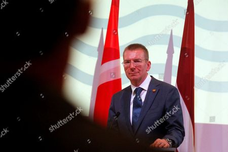 Latvia Minister of Foreign Affairs Edgars Rinkevics attends a press conference after a Council of the Baltic Sea States (CBSS) meeting in Jurmala, Latvia, 03 June 2019. Latvia handed over the presidency of CBSS to Denmark during the meeting.