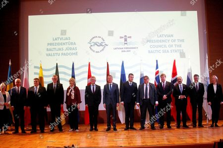 The Council of the Baltic Sea States (CBSS) pose for a family photo after a meeting in Jurmala, Latvia, 03 June 2019. From left: Sweden Minister of Foreign Affairs Margot Wallstrom, Poland Minister of Foreign Affairs Jacek Czaputowicz, Lithuania Minister of Foreign Affairs Linas Linkevicius, Germany Ambassador Extraordinary and Plenipotentiary Riitta Korpivaara, Secretary General of the European External Action Service Helga Maria Schmid, Denmark State Secretary for European Affairs Carsten Gronbech -Jensen, Latvia Minister of Foreign Affairs Edgars Rinkevics, Estonia Minister of Foreign Affairs Urmas Reinsalu, Finland Minister of Foreign Affairs Timo Soini, Icleand Director for Regional Cooperation Emil Breki Hreggviosson, Norway Director General for European Affairs Niels Engelschion, Russian Deputy Minister of Foreign Affairs Aleksandr Pankin, Ambassador, Director General of the Secretariat Maira Mora. Latvia handed over the presidency of CBSS to Denmark during the meeting.